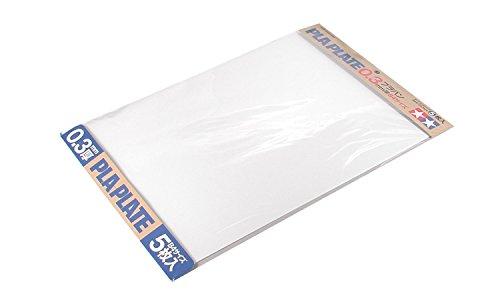 TAMIYA 70122 - Kunststoff-Platte 0.3 mm, 5 Stück, 257 x 364 mm, weiß