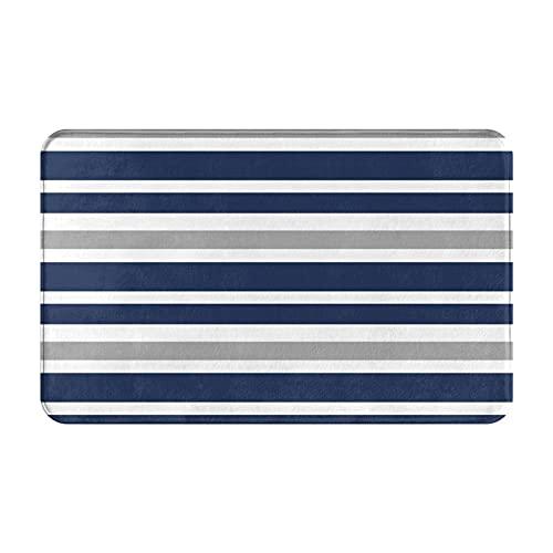AMIGGOO Eingangsteppich Fußmatten,Blau-Graue Streifen-Schleife nahtloses Muster,Rutschfeste Easy Clean Badezimmermatte für Home Decor Fußmatte Decor