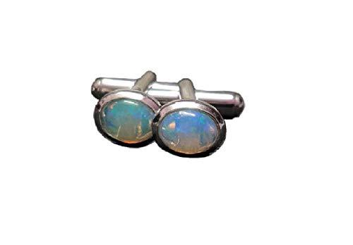Manschettenknöpfe, äthiopischer Opal, Silber, für Herren, Hochzeit, Feueropal, Vatertagsgeschenk