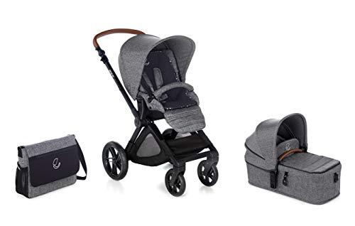 Jané Muum - Cochecito de bebe 2 piezas, capazo plegable y silla de paseo, con bolso y plástico de lluvia, plegado compacto, freno de pie, hamaca reversible, unisex, color squared