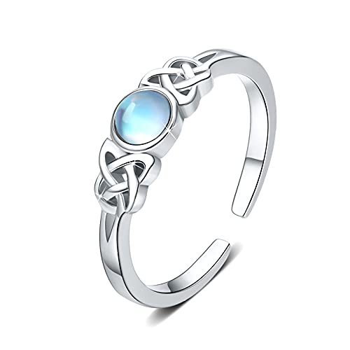 Moonstone Ring Sterling Silver Celtic Knot Ring Adjustable Rainbow Moonstone Ring Open Ring Jewelry Gift for Women (Moonstone)
