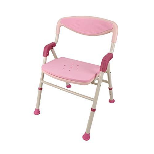 Duschhocker Duschstühle Badewannenhocker Aluminiumlegierung Badhocker Klappduschstuhl Höhenverstellbar Bad Stuhl Schwangere Frauen Rutschfeste Duschhocker ( Color : Pink , Size : 53*55*74cm )