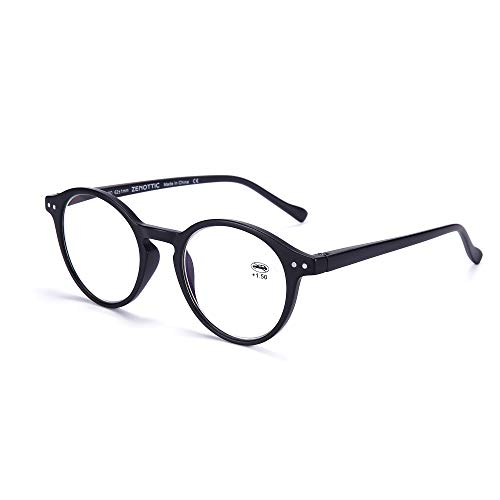 ZENOTTIC Occhiali da Lettura Presbiopia Anti Luce Blu con Lenti Antiriflesso Uomo e Donna Leggero Telaio Rotondo Vintage Occhiali (NERO, 0.00x)