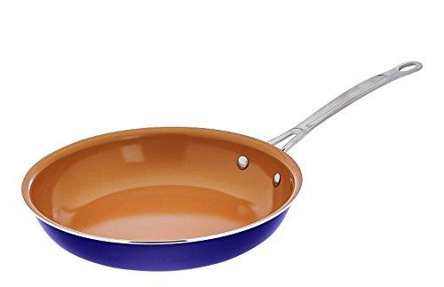 """Gotham Steel ceramic & Titanium Nonstick 10.25"""" Fry Pans, 10.25"""", Blue"""