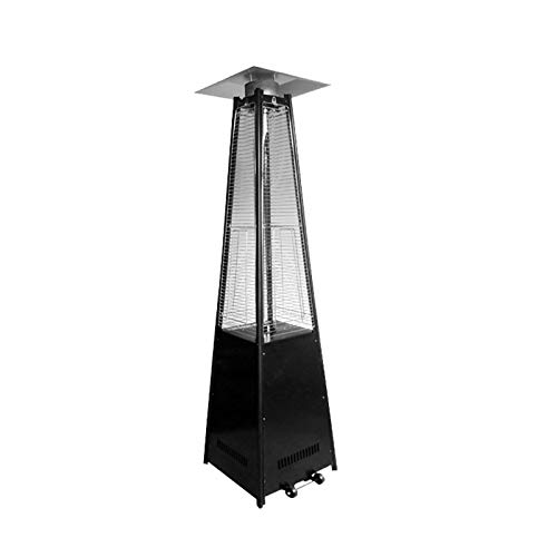 AIZYR Pyramid Patio Gas Heater, Outdoor Free Standing Propane Heater with Wheels and Quartz Glass Tube for Indoors and Outdoors,Black