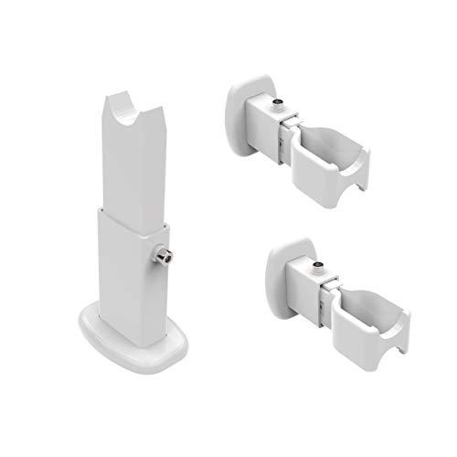 Paar beugels voor snelle wand- en vloermontage, voor zijdelingse bevestiging van handdoekradiator - Samengesteld uit voet op de grond en dubbele wandbevestiging - Voor radiatoren met 40 x 30