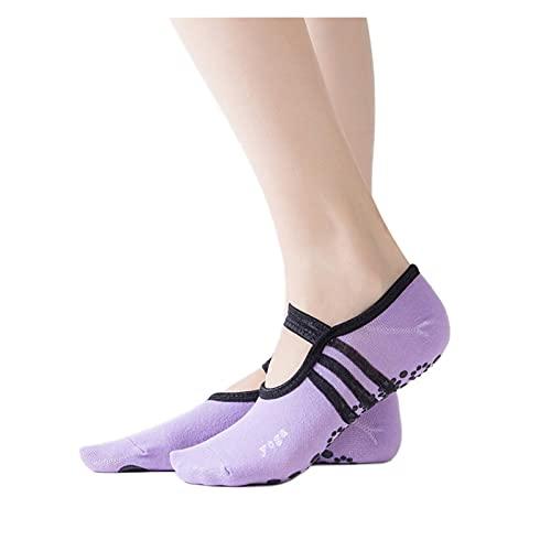 YQwind Calcetines de Yoga Mujeres Pilates Socks Ballet de Mujeres Yoga Danza Baja para Ayudar a Calcetines Calcetines de algodón Anti-Patinaje Calcetines de Yoga (Color : Light Purple)