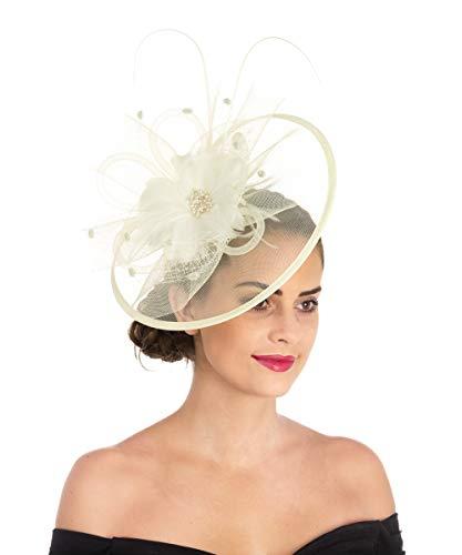 Lucky Leaf Fascinators Hut Blume Mesh Bänder Federn auf einem Stirnband und einem geteilten Clip Cocktail Tea Party Hochzeit Kirche Headwear für Mädchen und Frauen Braut (1-8-Beige)