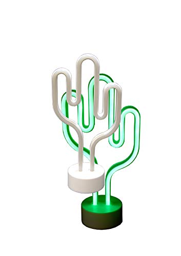Classic Line 0896-014 LED Neon-Licht Kaktus, Höhe ca. 30 cm, weiß/grün
