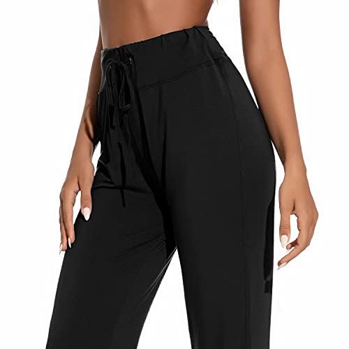 Voqeen Pantalones de Yoga Bootcut Mujer Modal Pantalones Deportivos Alta Cintura Elásticos Leggins Anticeluliticos Control de Barriga Cordón Pantalones de Trabajo (Negro, M)