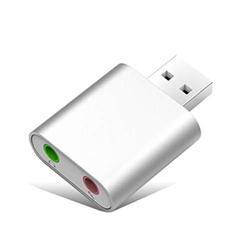 FMC USB-Audio-Adapter Externe Soundkarte mit 3,5-mm-Kopfhörer und Mikrofon-Buchse Plug and Play USB freies Laufwerk Soundkarte für PC Notebooks Desktops