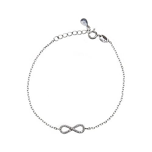 EMSea Pulsera de plata de ley 925 para mujer con circonitas, tamaño ajustable, aniversario, cumpleaños