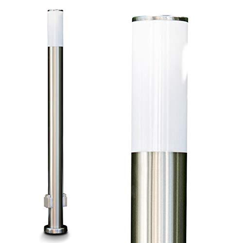 Außenleuchte Caserta mit 2 Steckdosen, moderne Sockelleuchte aus Edelstahl und Kunststoff-Scheiben, Wegeleuchte 110 cm, Gartenlampe mit E27-Fassung, max. 15 Watt, Gartenbeleuchtung IP44