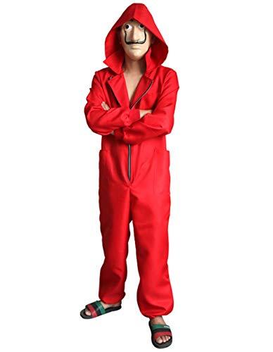 Angelaicos Unisex Dali Mask Red Costume for La Casa De Papel Jumpsuits 2019 New (3XL)