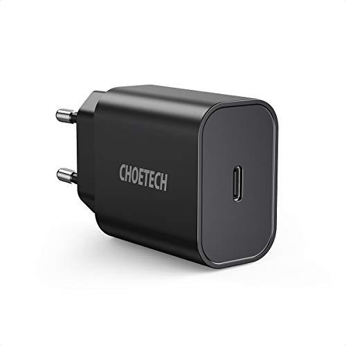 CHOETECH 18W Cargador USB C, Power Delivery Cargador Tipo C, Cargador Rápido QC 3.0+PD para iPhone 11/11Pro/SE 2020/XS/XR/X/8+, Galaxy S20/S20+/Note10/10+/9/S9/S8, Airpods, Huawei, Xiaomi,iPad Pro