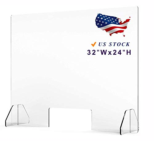 Sneeze Guard Shield for Desk Counter and Table, Personal Protection Clear Acrylic Panel with Transaction Window,US Shipping(32'W x 24H')