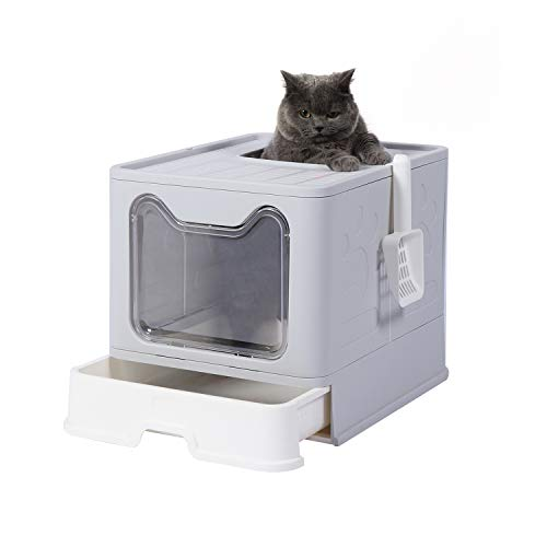 GENENIC Large Foldable Cat Litter Box Pan with Lid, Cat Potty ,Top Entry Type Anti-Splashing Cat Supplies with Pet Plastic Scoop(Grey)