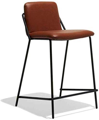 WTT barkruk leer bruin keukenstoelen metalen poten met voetensteun achterkant Pub dining voor ontbijt Thuis en stoel met & ndash; staal, bruin, zilver (kleur: zithoogte 75cm)