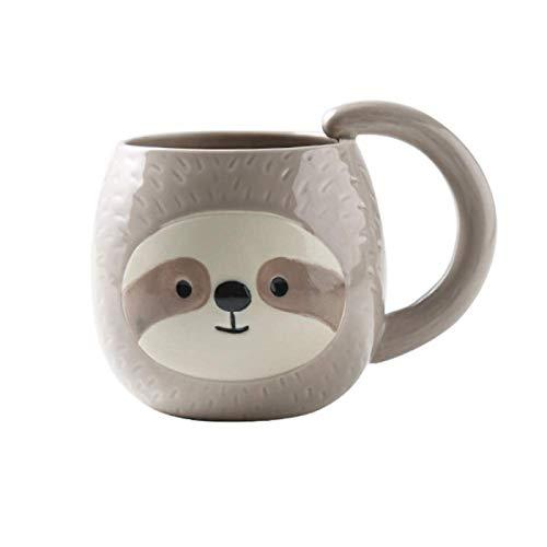letaowl Taza de café Perezoso taza 400 ml leche tazas de vidrio, té de leche taza de desayuno taza de café tazas para té, taza de Navidad taza de bebida regalo único animal taza