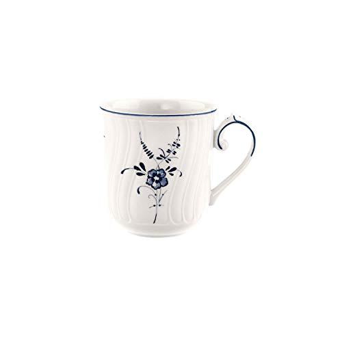 Villeroy & Boch Vieux Luxembourg Kaffeebecher, 290 ml, Premium Porzellan, Weiß/Blau