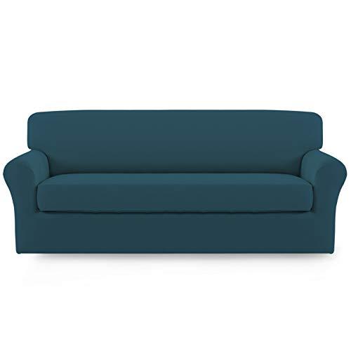 Easy-Going 2 fundas elásticas de microfibra para sofá – Spandex suave ajustable sofá sofá funda lavable protector de muebles con parte inferior elástica para niños (sofá, verde azulado)