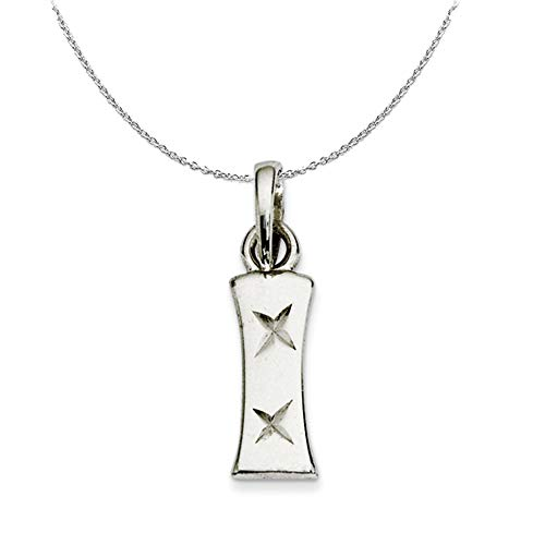 Black Bow Jewellery Company Silver, Sabrina Collection, D/C Block Initial I Necklace - 24 In