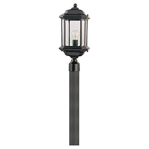 Sea Gull Lighting 82029-12 Kent One-Light Outdoor Post Lantern Outside Fixture, Black Finish