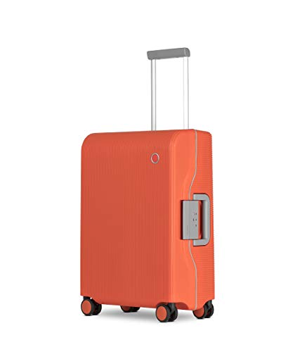 ECHOLAC Fusion - ElastoMite Polypropylene Lightweight Small 55 cm Carry-On Cabin Hand Luggage with Italian Design, and 8-Year No Break Warranty, Orange