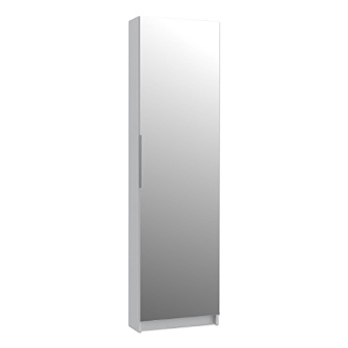 Unbekannt Schuhschrank Calma - Weiß - mit Spiegeltür
