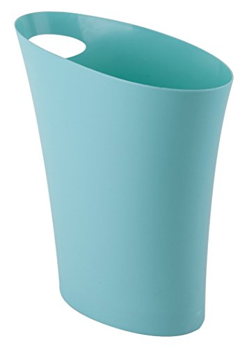 Umbra Skinny Sleek & Stylish Bathroom Trash, Small Garbage Can Wastebasket for Narrow Spaces at Home or Office, 2 Gallon Capacity, Surf Blue