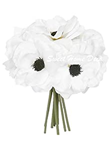 Sweet Home Deco Blooming Peony and Anemone Flowers - Silk Artificial Wedding Bridal Bouquet