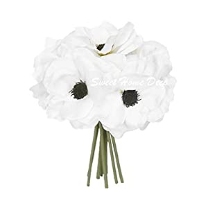 Sweet Home Deco 10'' Blooming Peony and Anemone Silk Artificial Wedding Bridal Bouquet/Home Flower (No Pot Included)