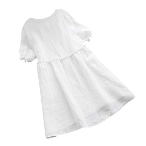 Lialbert Leinenkleid Dame Strandkleid Kleid Skaterkleid V-Ausschnitt A-Linie Vintage Sommerkleid Gebundenen ÄRmeln GroßE GrößE RüSchenäRmeln T-Shirt-Kleid Kurzes HäNgerkleid Weiß