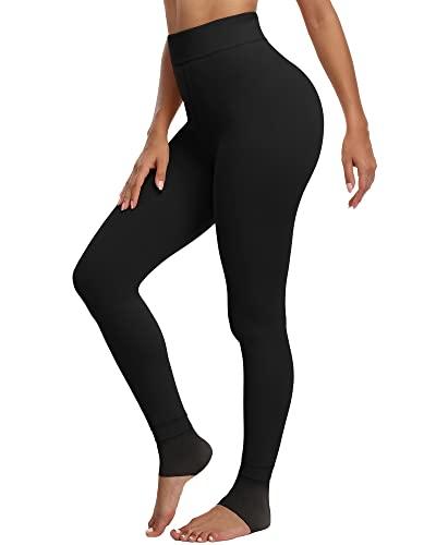 CHRLEISURE Women's Winter Warm Fleece Lined Leggings - Thick Velvet Tights Thermal Pants Black