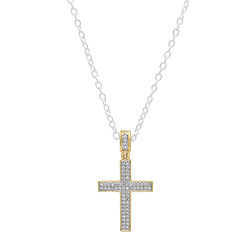 Dazzlingrock Collection 0.18 Carat (ctw) Round White Diamond Men's Hip Hop Cross Pendant (Silver Chain Included) | 10K Yellow Gold