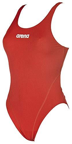 ARENA W High Bañador Deportivo Mujer Solid Swim Tech Alto, Red-White, 36