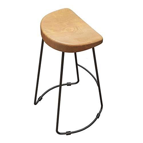 JQQJ barkruk, industrieel, barkruk, van massief hout, halfrond, kantelbaar, kruk van smeedijzer, eenvoudig, kruk hoog 45x45x65cm Log