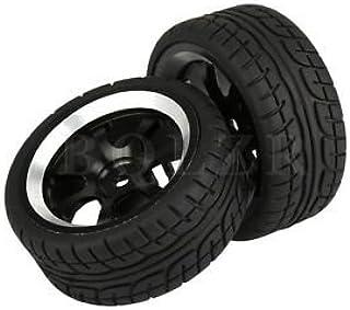4xRC1:10 On-Road Car Black Plastic 12-Spoke Wheel Rim /& Leaf Pattern Rubber Tyre