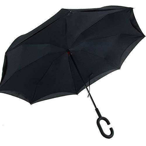 ReedG Paraguas Plegables Paraguas Desplazamiento en línea Recta for el Coche Lluvia al Aire Libre con la manija en Forma de C a Prueba de Viento Protección UV A Prueba de Viento Ligero
