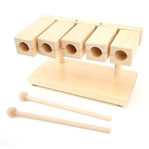 Bloque de percusión de madera, badajo de ritmo de percusión de arce, 5 tonos con martillo para templos, lugares de educación preescolar de yoga
