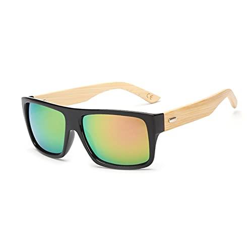 Gafas de sol originales de bambú de madera para hombres y mujeres con espejo UV400, gafas de sol, tonos de madera real, gafas de sol para exteriores doradas y azules para hombre KP1523C7Purple