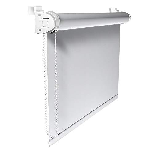 Victoria M. Klemmfix Verdunkelungsrollo ohne Bohren Rollo 120 x 150 cm, Weiß, Seitenzugrollo Verdunkelung für Fenster und Türen
