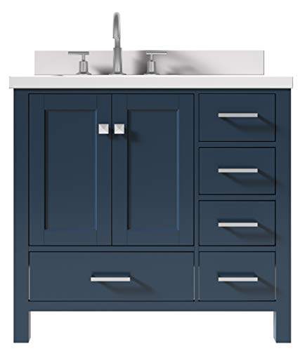 """ARIEL 37"""" Inch Bathroom Vanity in Midnight Blue with 1.5"""" InchEdge Pure White Quartz Countertop   Left Offset   Rectangle Sink   2 Soft Closing Doors & 5 Full Dovetail Extension Drawers   Satin Nickel"""