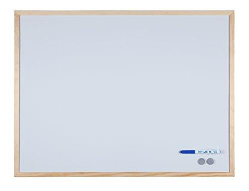 Weiße Magnet-Tafel mit hellem Holzrahmen, 79x59 cm (61137)