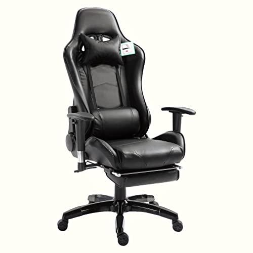 Sedia da Gaming, Sedia da Ufficio Ergonomic, Sedia da Computer in Stile Racing con Supporto Lombare Poggiatesta Poggiapiedi, Girevole 360° e reclinabile 180° Schienale alto Regolabile in Altezza