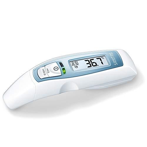 Sanitas SFT 65 Multifunktions-Thermometer, Fiebermessung an Stirn und Ohr, optischer Fieberalarm, Temperaturmessung von Oberflächen und Flüssigkeiten, 10 Speicherplätze, Uhr- und Datum-Anzeige