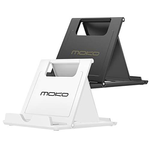 """MoKo 2Pz Multi-Angoli Portatile Pieghevole Supporto per Smartphone, Tablet (6-8"""") e E-Reader, per iPhone 11 Pro Max/11, iPad Mini 5/4, Galaxy S20 6.2"""" /Note 10+, Google Pixel 4/4XL, Bianco Nero"""