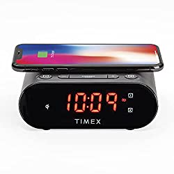 Timex Bedside Wireless Charging Dual Alarm Clock, with Large LED Display, dimmer, Snooze bar and Battery Backup (TW300)
