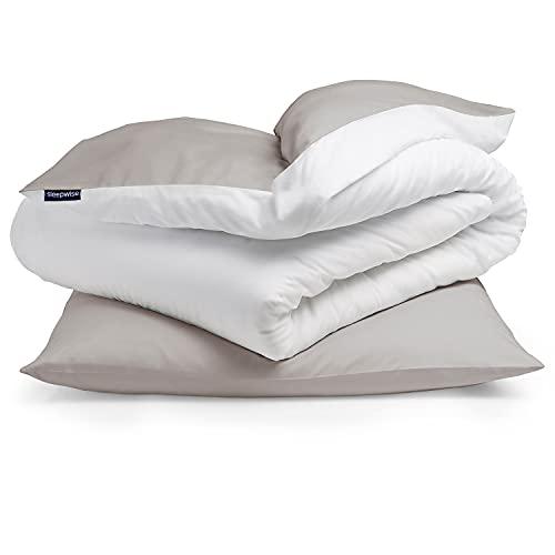 Sleepwise Bettwäsche (135x200) 2teilig, ÖKO-Tex, Kuschelig, Mikrofaser Bettwäsche, Atmungsaktiv Faltenfrei Pflegeleicht Hypoallergen Bettbezug-Set mit 80x80 Kissenbezug (Taupe/Weiß)