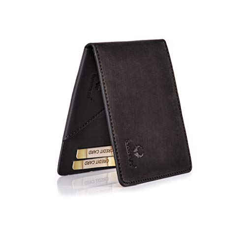 DONBOLSO® Madrid Geldbörse mit Münzfach Leder Herren Mini Portemonnaie Flach mit RFID Brieftasche Männer Schwarz